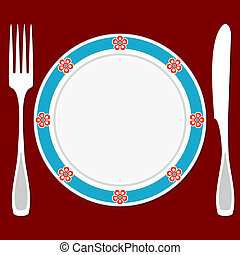 Table setting - Fork, knife and plate on a red background....