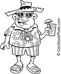 Cartoon tourist - Black and white illustration of a tourist...
