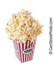 Popcorn - Overflowing box full with popcorn isolated on...