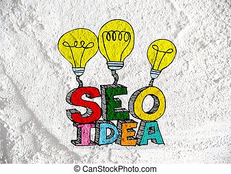 Seo Idea SEO Search Engine Optimization on Cement wall...