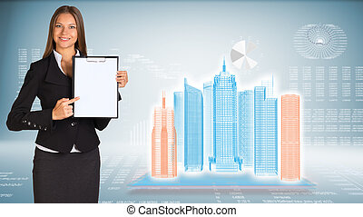 Businesswoman holding paper holder. High-tech wire frame...