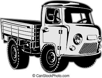 Cartoon delivery cargo pickup isolated on white background...