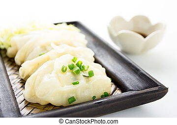 Gyoza or potstickers on a plate
