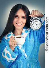 Young Woman Holds Clock and Coffee