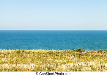 view of Sea of Azov from Taman Peninsula near resort village...
