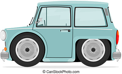 Cartoon car - Funny little car on a white background