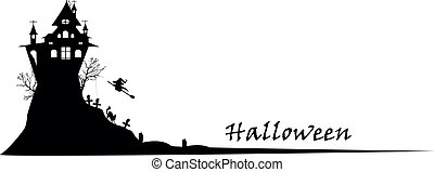 halloween silhouette background - vector illustration of...