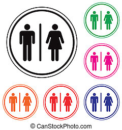 Male Female Restroom Symbol Icon with Color Variations