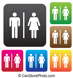 Restroom - Male Female Restroom Symbol Icon with Color...