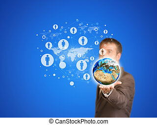 Earth with contacts Businessman in a suit as backdrop...