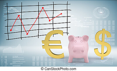 Piggy bank with dollar and euro symbol