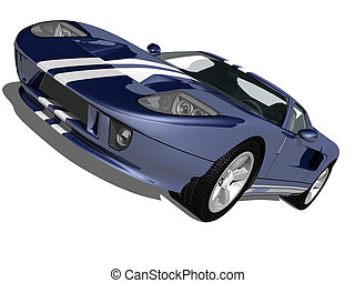 Super Sports Car - blue car on white isolated