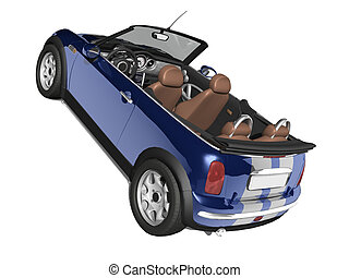 Small Sports Car - blue car on white isolated