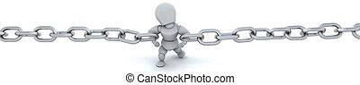 3d render of man holding chain together - 3d render of a man...