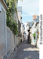 medieval narrow street in Angers, France - Rue Saint Aignan...