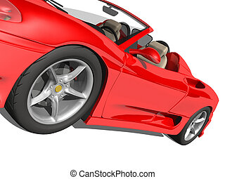 Red Sports Car - Red glossy car against white
