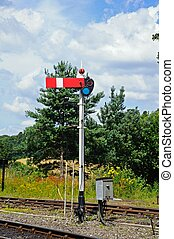Lower quadrant semaphore signal. - Lower quadrant semaphore...