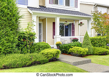 Classic american house exterior. Entrance porch - Classic...