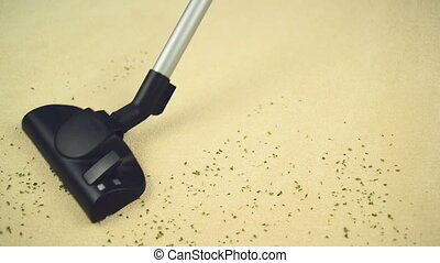 Vacuum Cleaning the Carpet - Vacuum Cleaner sweeping Brand...