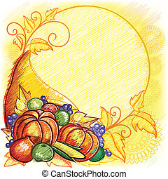 Cornucopia - Sketch stylize Cornucopia background,lot of...