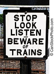 Beware of trains sign. - Old Retro beware of trains sign,...