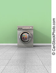 Washing Machine Full Single - A front view of a regular...
