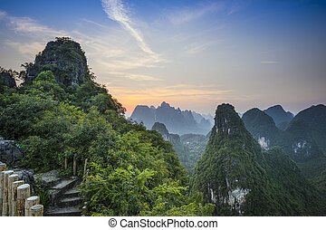 Xingping Landscape - Karst mountain landscape in Xingping,...