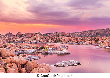 Sunset on Watson Lake Prescott AZ - a beautiful sunset at...