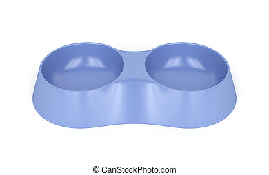 Plastic pet bowl on white background