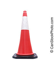 Traffic cone - barricade warning cones on white background,...
