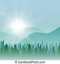 Forest Mountain Background - Forest background with fir...
