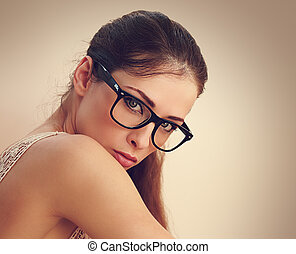 Sexy successful female model in fashion glasses looking....