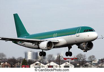 green plane landing
