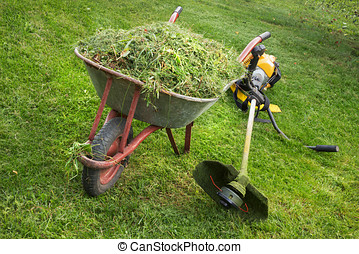 Wheelbarrow with grass and the trimmer - Wheelbarrow with...