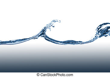 Blue water splash on a white background