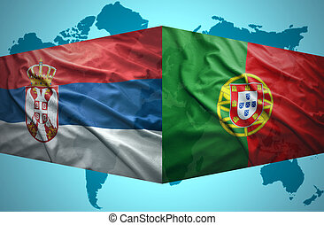 Waving Serbian and Portuguese flags