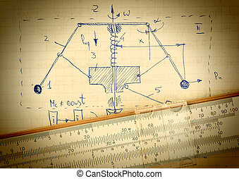 Page of old paper with the calculation of the theoretical...