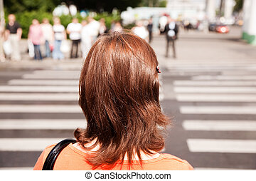 city scene with Crosswalk - focus point on nearest part of...