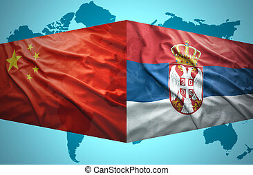 Waving Serbian and Chinese flags