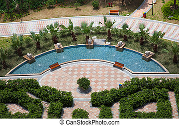 Garden - aerial view a garden in China