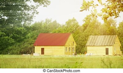 Wooden rural houses under construction - Video 1080p -...
