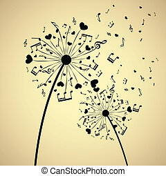 Dandelion with hearts and notes - Background with dandelion...