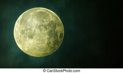 Video captured by telescope - Beautiful full moon in clouds...