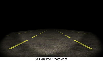 Animation, car moving through lost highway, HD