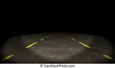 Animation, car moving through lost shaky highway, HD