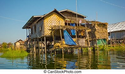 Traditional house on Inle Lake. House on stilts - Video...