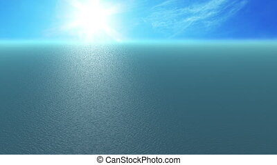 Animation, 500 metre high angle sea view, sunny day, HD