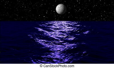 Animation, moon light over sea at night
