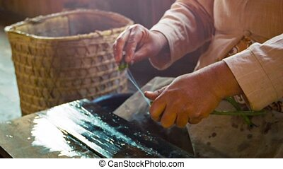 Woman makes yarn from the juice of the lotus old-fashioned...