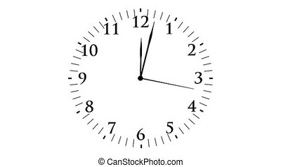 Animation, clock time without seconds, white background, HD